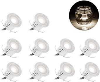 Lixada 嵌入式 LED 甲板灯套件 / 10 件装 / 12 V 低电压暖/自然白色 φ22 毫米 防水 IP67 地面灯 LED 台灯 适用于台阶、楼梯、露台、地板、泳池甲板、厨房