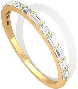 0.50 克拉长方形 SGL 认证钻石周年纪念戒指,HI-SI 钻石新娘婚礼堆叠戒指,母亲节承诺匹配戒指套装礼品创意,14K 黄金,尺码:美码 6.5