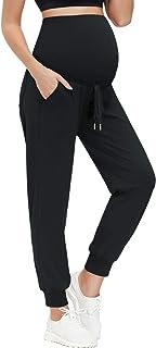 女式孕妇慢跑裤带口袋抽绳健身运动裤