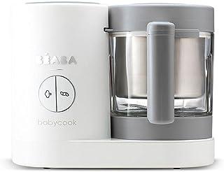 Béaba – Babycook Neo – 婴儿食品制作机 – 4合1:食物处理器、搅拌机和炊具 – 软蒸锅烹饪 – 快速自制婴儿食品 – 玻璃碗 – 不锈钢浴缸 – 灰色/白色