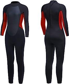 男式潜水服 3 毫米氯丁橡胶长袖连体潜水服带后拉链潜水服保暖泳衣水上运动