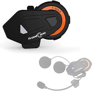 摩托车头盔耳机 T-MAX,FreedConn T-MAX 摩托车头盔蓝牙对讲通信系统,带 2 合 1 可切换麦克风(FM/1000M/6 Riders/IPX65)