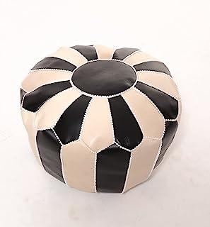LEATHEROOZE 手工未填充双色皮革Ottoman Pouf Seat 波西米亚摩拉肯 45.72 x 45.72 x 35.56 厘米客厅卧室电视室黑色/白色