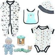 Combo 男嬰嬰兒全套林地印花套裝,配有 3 個搖鈴玩具