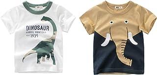 Jsmiten 男童夏季衬衫幼童 2 件装 T 恤大男孩短袖衬衫上衣