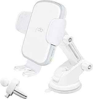 REDBEAN 无线车载充电器 15W Qi 快速充电自动夹紧安装挡风玻璃仪表板通风手机支架兼容 iPhone 11 Pro Max XS XR X 8 Plus 三星 S10 S9 S8C2WC-WH 纯白色