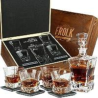 威士忌*器和玻璃套装 - 男士威士忌酒杯套装 - 4 个超大苏格兰威士忌酒杯带*器和石杯垫 - 波旁*器礼品套装 - 盒装家庭酒吧套装