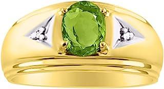 RYLOS 男士经典椭圆形宝石 & 真正的闪耀钻石戒指 14K 黄金镀银 925-8X6MM 绿宝石、红宝石蓝宝石