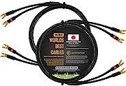 6 英尺 - 同轴发烧友扬声器电缆一对由 WORLDS BEST Cables 定制制作 - 使用 Mogami 3082 金属镀金铲形插头(每端有 2 个插头)