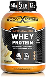 Body Fortress Super Advanced Whey Protein Powder, Gluten Free, Banana Cream, 5 Lbs