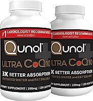 Qunol Ultra CoQ10 100 毫克,3X 更好的吸收, 水溶性补充形式的 Coenzyme Q10 剂 CoQ10 240 Softgels 240