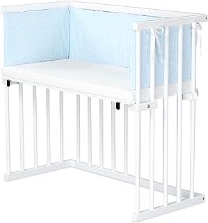 dreamgood 床边床,山毛榉,白色喷漆 | 床垫 Prime | 床边,天蓝色点,白色