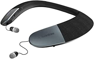 Avantree 可穿戴无线音箱,蓝牙 5.0,aptX HD,低延迟,个人颈带扬声器,带可伸缩耳塞,卓越的音频品质,3D 环立体立体立体立体立体立体立体立体声用于音乐电视通话 - Torus (NB05)