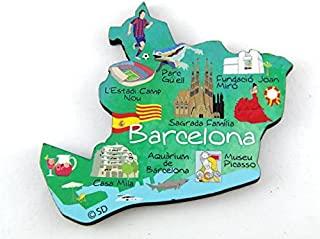 西班牙巴塞罗那 Decowood 特大木冰箱磁贴 3.5x2.75