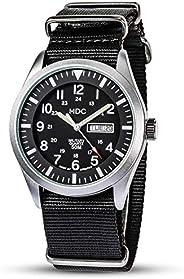 MDC 男式*手表战术腕表防水户外运动领域黑色模拟男士手表*休闲工作手表北约表带
