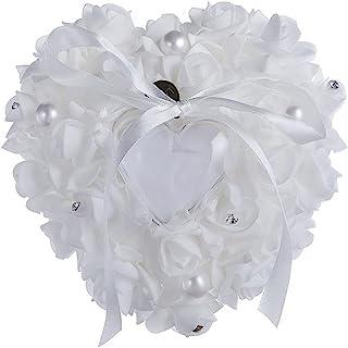 心形戒指轴承盒 婚礼仪式 派对用品 装饰订婚求婚蕾丝玫瑰心形浪漫戒指枕 带丝带新娘戒指托