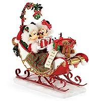 Department 56 Could Dreams 迪士尼米奇和米妮雪橇铃铛和槲寄生雕像,11 英寸,多色