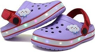 VIYEAR 儿童男孩女孩 LED 木底可爱轻便夏季拖鞋 花园沙滩凉鞋