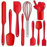 P&P CHEF 硅膠刮刀,紅色橡膠刮刀套裝,防熱橡膠刮刀,用于混合刮擦烹飪烘焙,防粘和防刮擦,無縫和靈活設計 - 9 件裝