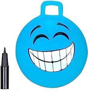 BOUNCEZIEZ 充气弹力袋鼠弹跳跳球(含泵)(18 英寸(约 45.7 厘米),蓝色 - 笑脸)