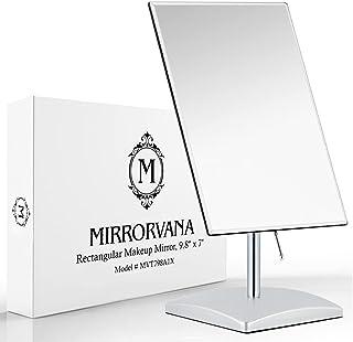 Mirrorvana 无放大化妆镜,完美现代优雅无框设计,适合卧室或浴室,大号 24.13 厘米 x 17.78 厘米矩形玻璃表面