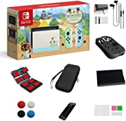Nintendo 任天堂 Switch - Animal Crossing: New Horizons Edition 32GB 控制台 - 淡*和蓝色 Joy-Con - 6.2 英寸触摸屏 LCD 显示屏,圣诞节,带