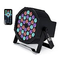 DJ 灯 Missyee 36 X 1W RGB LED DJ LED 向上照明套装声控舞台光灯,兼容 DMX ,9 种模式 LED 发光灯,适用于婚礼活动派对节日(1 件装)