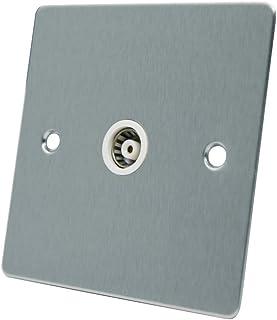 AET FSC1GTVWH 1-Gang 绸缎铬平头航空同轴女士电视插座塑料白色插入开关