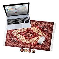 東方地毯桌墊 XL 地毯鼠標墊辦公室桌墊波斯地毯鼠標墊桌墊 復古紅