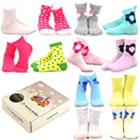 teehee 儿童女孩棉质基础款船袜12双装 Polka Dots & Flower 3-5 Years