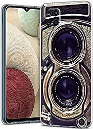 老式相机适用于三星 A12 保护套男女男孩,酷炫复古 70 年代 80 年代 90 年代老式复古相机保护套,适用于三星 A12,有趣的复古外观柔软超薄硅胶外壳