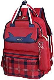 BAIGIO 小學生包 兒童防水背包 書包 iPad 包 輕巧耐用學生單肩包 帶鉛筆盒 紅色