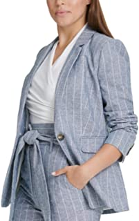 D K N Y 细条纹单扣西装外套,纯蓝色,小号