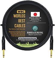 1.83 米 - 吉他低音乐器电缆由 WORLDS BEST CABLES 定制 - 使用 Mogami 2524 线和Neutrik NP2X-B 1⁄4 英寸 (6.35mm) 直金 TS 连接器