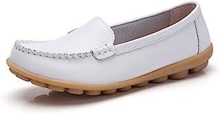 女式柔软舒适皮革乐福鞋休闲鞋驾车休闲平底鞋