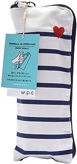 World Party Wpc. 折叠雨伞 女士 拉链袋 条纹心形刺绣 米白色 50cm