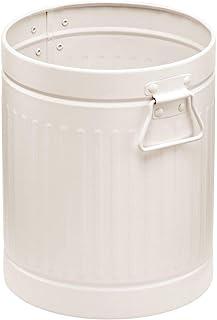 mDesign 装饰复古农舍圆形金属小垃圾桶废物垫,带浴室、化妆房、厨房、家庭办公室的把手 - 奶油色