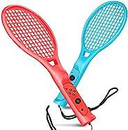 TNP 网球拍 Nintendo Switch Joy-Con 控制器 带腕带 Joy-Con 球拍配件 两件装 适用于任天堂 Switch Game 马里奥网球 Ace 蓝色和红色