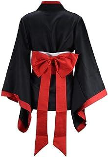 女孩白色和服红色和服裤套装女士日本动漫 Kikyo Miko 和服角色扮演万圣节女巫服装