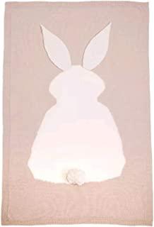 """婴儿床针织毯 柔软婴儿抱被 中性 婴儿车套 42x28 英寸 兔子图案 米色 42"""" x 28"""""""