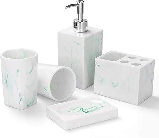 浴室配件套装,5 件套大理石外观 浴室套装 适用于洗手间配件 浴室装饰 带皂液器牙刷架、肥皂碟、2 个玻璃杯、公寓必需品(*白色)