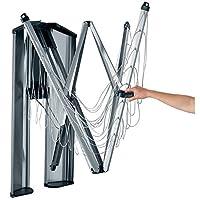 Brabantia WallFix 壁挂式可伸缩清洗线,带哑光钢储物盒,银色,24米