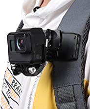 GoPro Hero9/8/ 7/6/5背包带快速夹支架,适用于 DJI OSMO 运动摄像机、视频拍摄配件、稳定和 360° 可调节、灵活角度