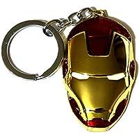 """Marvel 电影漫画复仇者钢铁侠金属面具吊坠钥匙扣 金红色 2 3/8"""" X 1 1/2"""""""