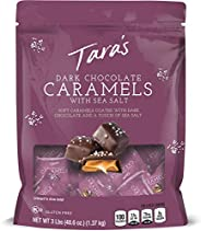 Tara's Small Batch Dark Chocolate Covered Sea Salt Soft Caramels, Individually Wrapped, 3 Lbs (approx 60Pi