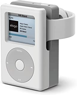 Elago W6 支架 - [复古媒体播放器设计] [支持夜架模式] [电缆管理] - 适用于 Apple Watch 4/3 2/1EST-WT6-WH