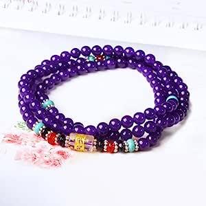 晶隆福 天然紫玉髓佛珠手链 紫色高贵神秘浪漫 女性最爱 增添魅力 圆珠润滑