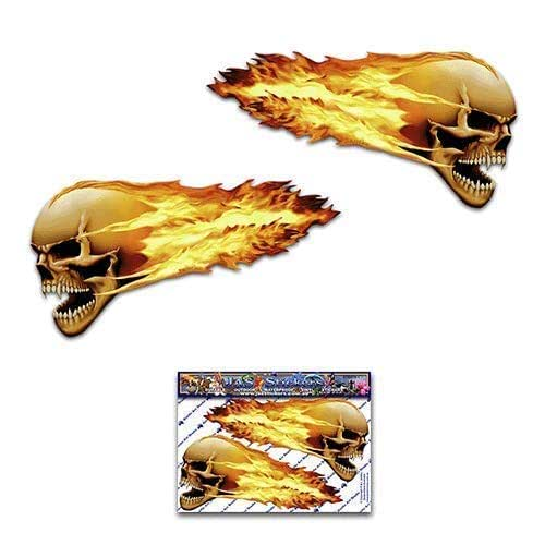 2 x FLAMING SKULL Scary Halloween 趣味汽车贴纸摩托车乙烯基贴纸 ST00016TP_LGE - JAS 贴纸