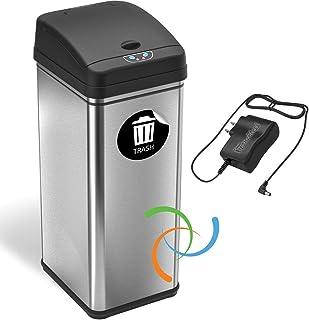 iTouchless 13 加仑自动无接触传感器厨房垃圾桶带交流电适配器,异味过滤器*器,铂金限量版(带交流电)