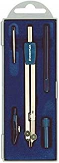 Staedtler 559 C05 ST 圆规套装(精确、可弯曲的铅腿和针头鞋,套装带黄铜圆规,替换件,撕裂笔带支架和2毫米针,折叠盒内)
